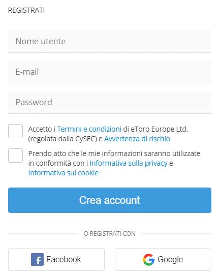 registrazione del conto demo dati personali