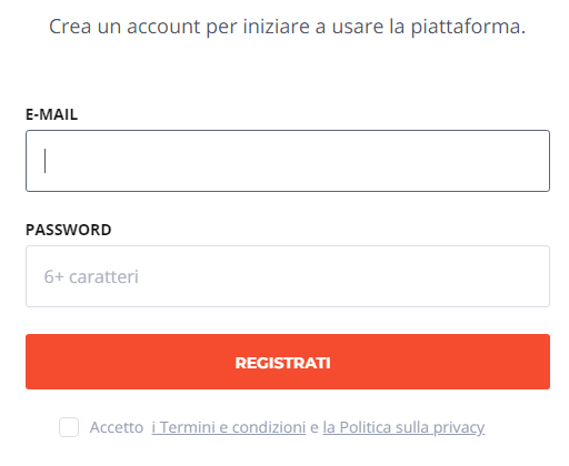 inserire email e password iq option