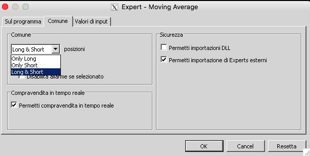 Parametri di impostazione dell'EA Moving Average