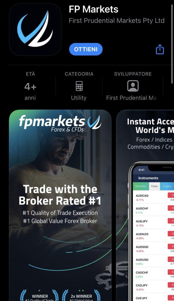 L'applicazione per smartphone di FP Markets
