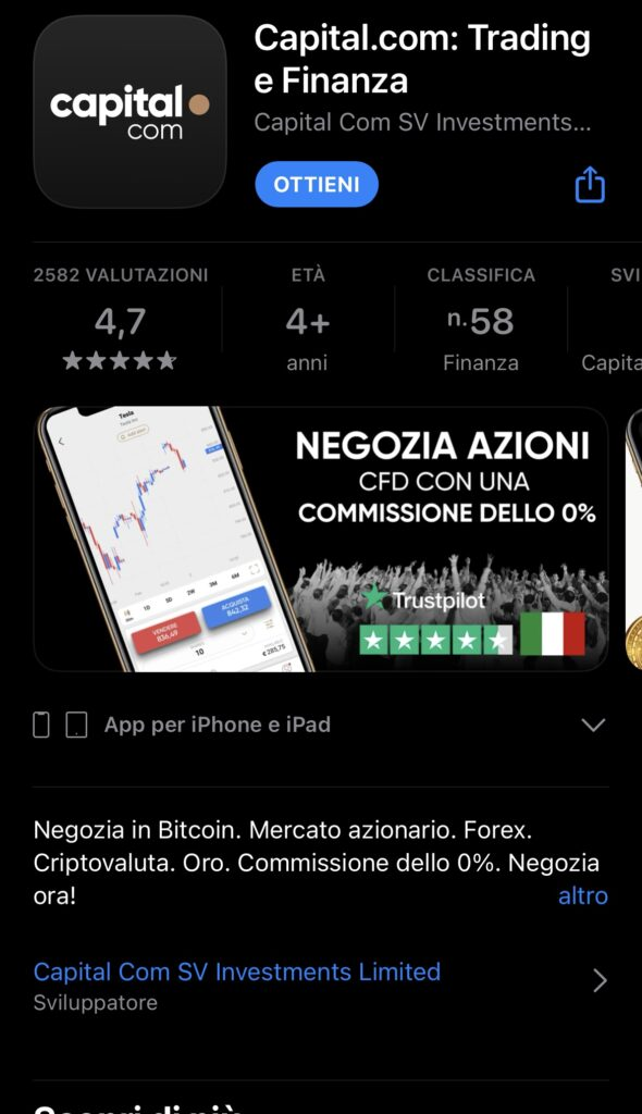 L'applicazione di capital.com sull'AppleStore