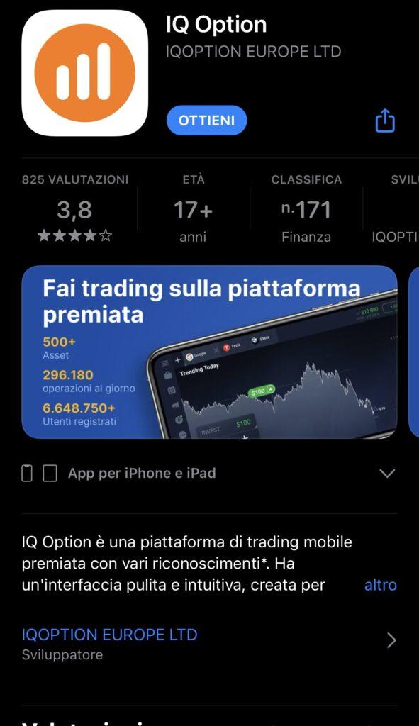 L'app di IQ Option sull'AppleStore